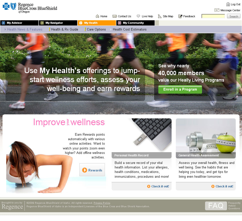 My Health landing page